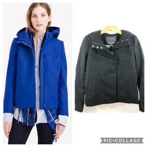 J. Crew Wool Melton Hooded Bib Jacket In Black